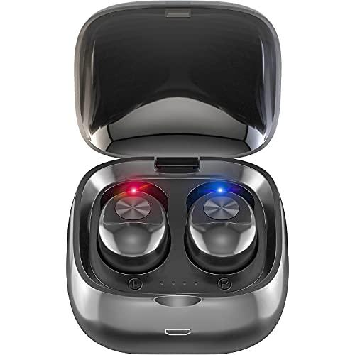 Kindpack Bluetooth Earphone HiFi Stereo in-Ear TWS Earbuds True Wireless Earphones Gaming Ear Buds Headset with Mic Handsfree, Ivory Black