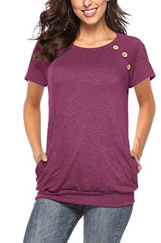 NICIAS Damen Sommer T-Shirt Kurzarm Oberteil Shirt Lässige Schaltflächen Hemd Bluse Tunika Top mit Taschen Weinrot X-Large