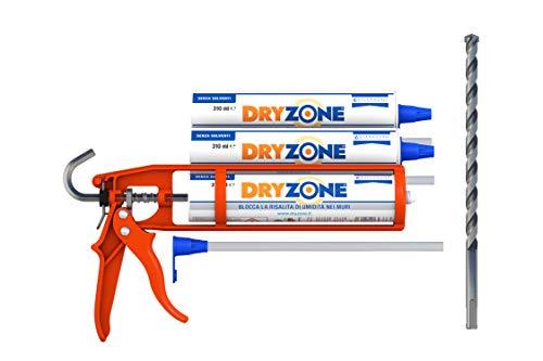 Dryzone x3 cartuccie da 310 ml. Con strumenti per una facile applicazione. Gel impermeabilizzante a iniezione per bloccare l'umidità di risalita. (3 x 310)