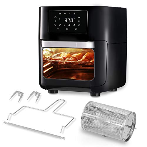 CateVoice 10.5 QT Air Fryer Oven, 8-in-1 Oilless Cooker, LED Digital Touchscreen   Rotisserie Dehydrator   Auto Shutoff   5 Accessories and Recipe Includes   XL Family Size