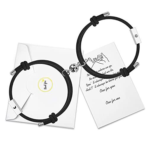 Personalizza Braccialetti magnetici di attrazione reciproca 2 Set con barra incisa a 4 lati Miglior regalo per coppia abbinato per donna Uomo (Sun&Moon)