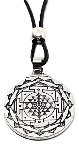 Eclectic Shop Uk Sri Yantra Mandala Tantric Pendant 3rd Eye Chakra Buddhist Beaded Cord Necklace Jewellery