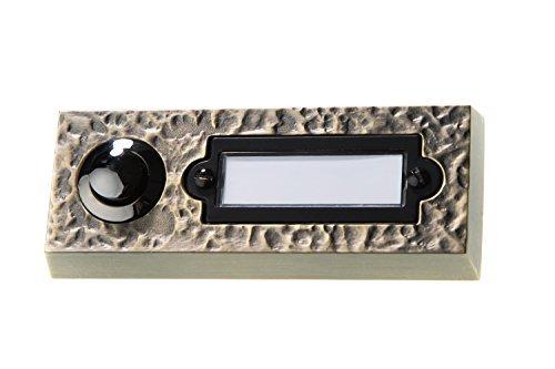 HUBER Klingel Klingeltaster 12021, 1-fach aufputz, rechteckig, Echtmetall, bronze, mit PC Namensschild