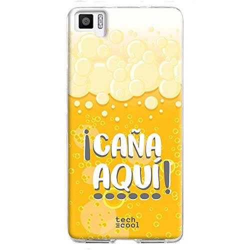 Funnytech® Funda Silicona para BQ Aquaris M5 [Gel Silicona Flexible, Diseño Exclusivo] Frase Cerveza ¡Caña aquí!
