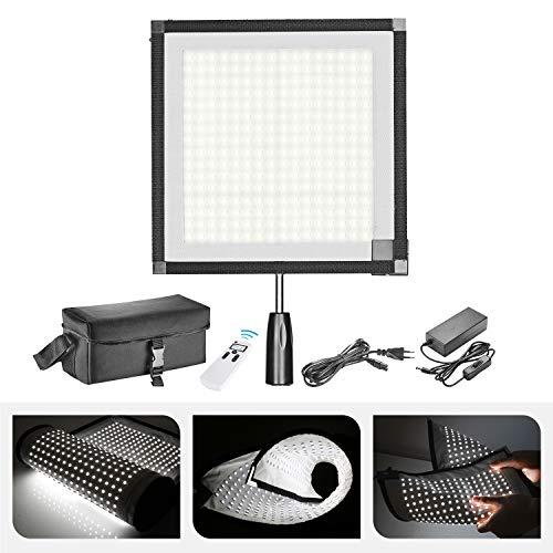 Neewer Faltbare LED Lichtfeld auf Mattem Stoff 5600K 256 mit 2,4-G-4-Kanal-Fernbedienung, Diffusortuch, Handgriff und tragbarer Tasche für Porträtvideos im Freien