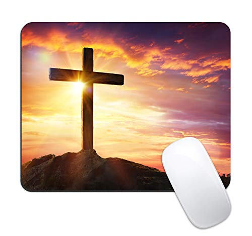 Dynippy Mouse Pad Gaming Mouse Pads Non-Slip Rubber Base Mousepad Square Mouse Mat for Desktops Computer Laptops (Christian Christ Cross)