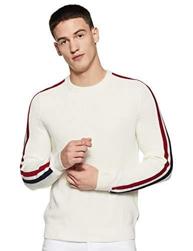 Calvin Klein Men's Wool Blend Crewneck Fall Holiday Sweater, Marshmallow, X-Small
