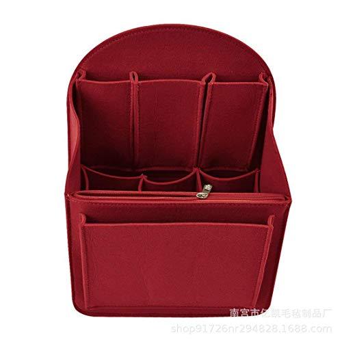 WANYIG Taschenorganizer Rucksack Organizer aus Filz mit herausnehmbarer Reißverschlusstasche Taschen Organisator Kosmetikorganizer für Frauen Handtasche Rucksack(L,Rot)