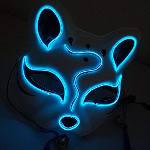 Allouli PVC LED Halloween Light Up Fox Face Mask Festival Cosplay Party Dance Costume Mischief Masquerade Ball