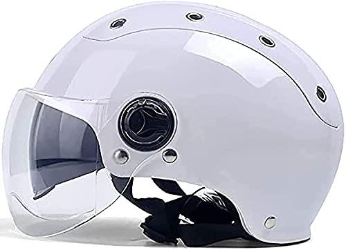 WANGFENG Medio casco de motocicleta, (blanco) Cool Vintage casco con doble visera para el sol, adecuado para Scooter Cruiser correa de liberación rápida, medio casco para hombres y mujeres
