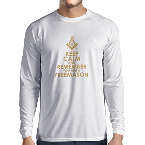 T-Shirt mit Langen Ärmeln Denken Sie daran, DASS Sie EIN Freimaurer sind - Masonic Winkel und Zirkel (XX-Large Weiß Gold)