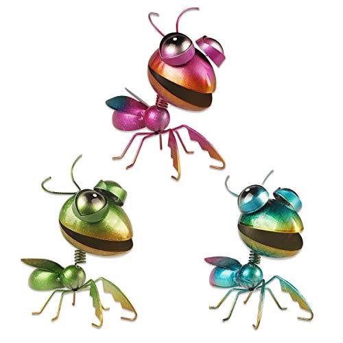 YiYa 3PCS Metal Mantis Decoración de Pared Mantis Decoración de Pared Arte para jardín Hogar Sala de Estar Dormitorio Patio Decoración Mesa de Comedor Decoración de césped Esculturas de Pared