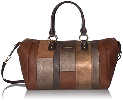 Nikky Women's Color Block Fashion Style Large Brown Spacious Dual Handle Boston Bag, One Size