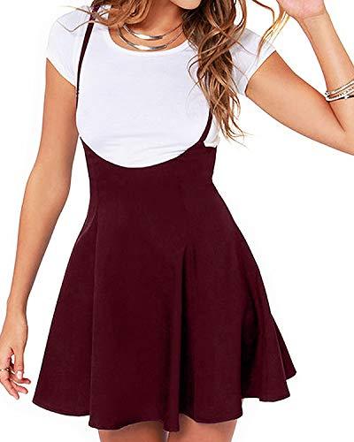 YOINS Rock Damen Mädchen Minirock Kawaii A Linie Mini Skater Rock Kleider für Damen Minikleid Skaterkleid,Rock-rotwein-01,S