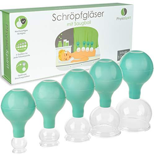 PhysioSpirit PREMIUM Schröpfgläser - hochwertige Saugglocken aus Echtglas - Schröpfglas gegen Cellulite - Schröpfen ohne Verspannungen - 5er Set