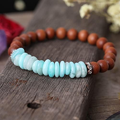 JIAQ Piedias Naturales Heishi Bead Beads 8mm Fragante Sandalia de Madera Pulsera de oración Pulsera de Cadena Elástica Buda Pulsera Mala (Metal Color : Amazon Stone)