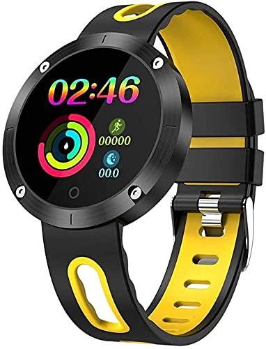TCHENG Bluetooth Smart Pulsera Masculina Sueño Dormitorio cardíaco Presión Arterial IP68 Reloj de Fitness Deportivo Impermeable para iOS/Android (Color : Yellow)