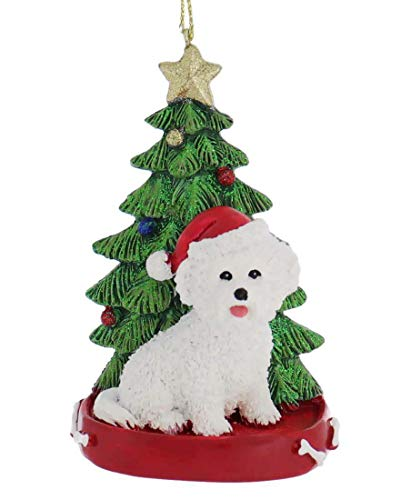 Kurt Adler Bichon Frise With Christmas Tree Ornament