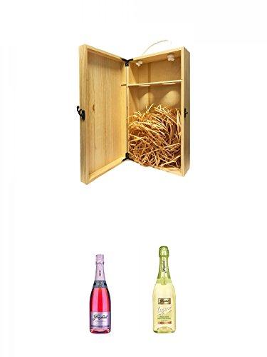 1a Whisky Holzbox für 2 Flaschen mit Hakenverschluss + Freixenet Cordon Rosado Brut Trocken Spanien 0,75 Liter + Freixenet Legero alkoholfrei Spanien 0,75 Liter