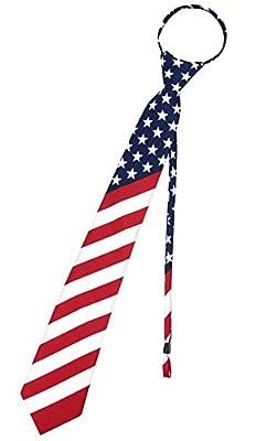 Vesuvio Napoli Mens Necktie AMERICAN FLAG Red White Blue PreTied Zipper Neck Tie