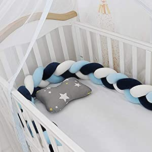 Lion Paw Crib Decor Braid Pillow Cushion 78.7in Crib Sides Protector Infant Cot Rails Newborn Gift Knotted Braided Plush Nursery Cradle Decor (Whit-Blue-Navy Blue, 78.7in)