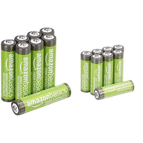 AmazonBasics - Batterie AA ricaricabili + AmazonBasics - Batterie AAA ricaricabili