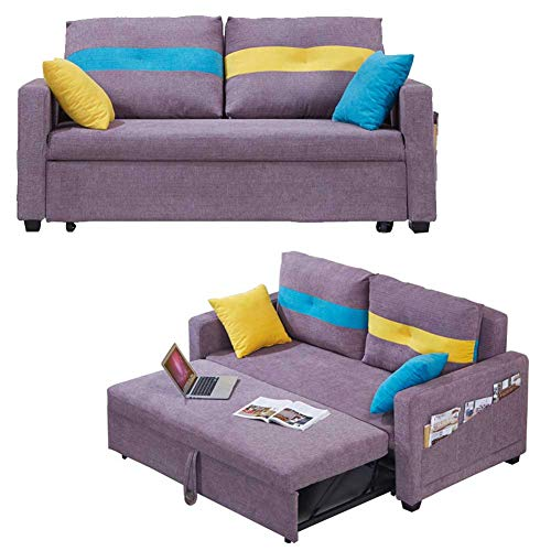 RJMOLU Convertible Sectional Sofa Couch, Reversible Sleeper Sectional Sofa Bed with Ottoman/Storage, Modern Linen Fabric Couch for Small Space,Purple,1.5m