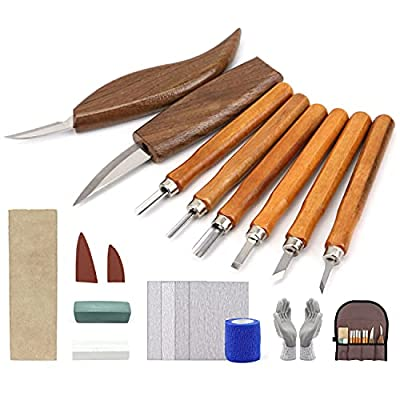Wood Carving Tools Kit for Beginners 23pcs Hand Carving Knife Set Craft Engraving Supplies Include All-Purpose Cutting Knife and Detail Knife with Cut Resistant Gloves for Kids Adults Woodcrafts DIY