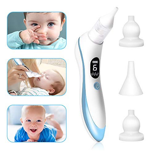 Aspirador Nasal Bebé Eléctrica Nariz Succión Limpiador de Nariz de Carga USB con 6 Puntos Fuertes de Succión y 4 Tipos de Seguridad Higiénica, Para Recién Nacidos y Niños Pequeños