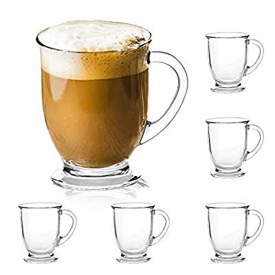 15oz/450ml Glass Coffee Mugs Clear Coffee Cups with Handles perfect for Latte, Cappuccino, Espresso Coffee, Tea and Hot Beverages, Set of 6