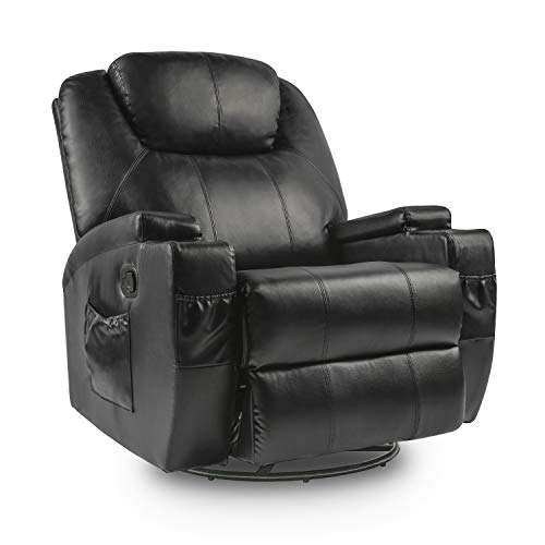 Lauraland Recliner Chair, PU Leather Massage Recliner Ergonomic Lounge Heated 360 Degree Swivel Recliner Sofa for Living & Gaming Room, Headrest Adjustable Black black chair gaming