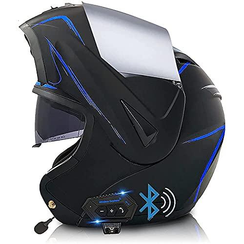 NAINAIWANG Casco Motocicleta Modular Integrado Bluetooth Casco abatible para Motocicleta Doble Visera Casco Integral Ligero Aprobado por Dot/ECE para Adultos Hombres Mujeres