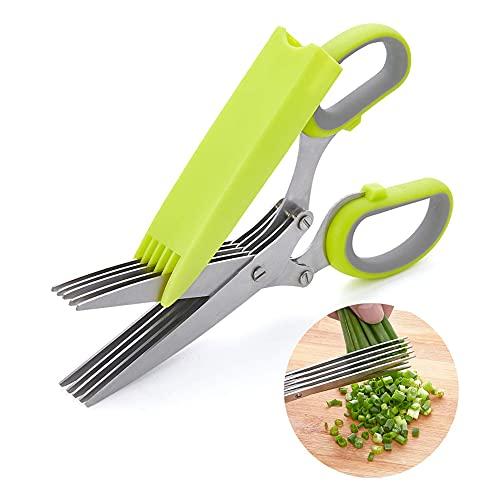 i-Found Tijeras de cocina de acero inoxidable de cinco capas, adecuadas para cortar hierbas, cebolla verde picada, vainilla, con cubierta de seguridad