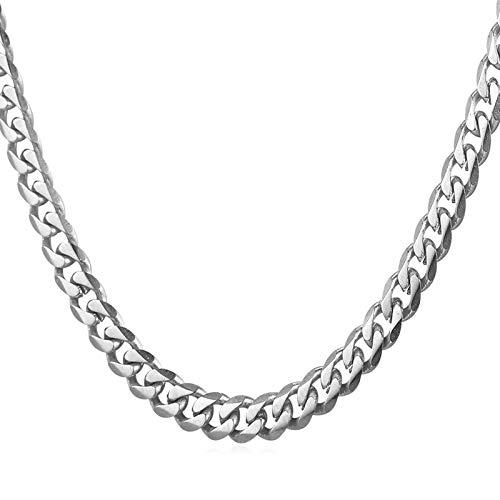Daesar Colgante Cadena Plata Hombre Cadena Curb Collares de Cadena Acero Inoxidable Hombre 6mm Collar de Cadena Hombre 76cm