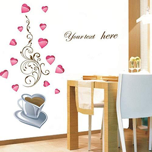Restaurang kök kärlek hjärta blomma vinranka kaffekopp väggklistermärke heminredning avtagbar vägg glasskåp gör-det-själv vinyldekaler