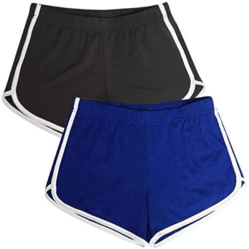 Voqeen Mujer Pantalones Deporte Cintura Elástica Verano Pantalones Cortos Deportivos Pantalones Casuales de Playa Cortos para Fitness, Running, Dormir (E, L)