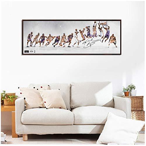 A&D Klassische Kobe Bryant Poster Dekorative Malerei Leinwand Wandkunst Wohnzimmer Malerei Schlafzimmer Ölgemälde Basketball Star-40x120 cm Kein Rahmen