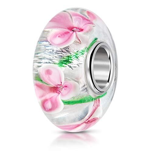 Materia 579 - Bracciale in argento 925 e perle di vetro di Murano con fiori e fiori