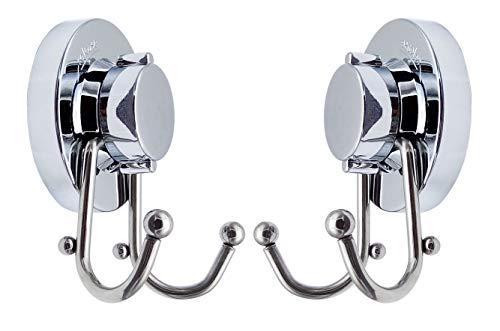 JaneYi (2 pezzi) ganci a ventosa in acciaio inox con doppio gancio a ventosa per accappatoio – senza foratura, non arrugginisce, rimovibile e riutilizzabile, porta asciugamani per cucina e bagno