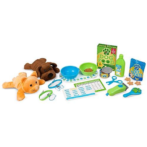 Melissa & Doug Feeding & Grooming Pet Care Play Set with 2 Plush Animals (24 pieces)