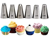 Large Piping Tips, 6-Pack Cake Piping Nozzles Kit Stainless Steel Icing Piping Tips Large Nozzles Set Cake Decorating Tools for Baking DIY Cream Cake Cupcake