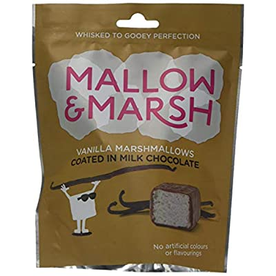 mallow & marsh mallow and marsh vanilla coated in milk chocolate covered marshmallow sharing bag pouch, pack of 6 (100 g) Mallow & Marsh Vanilla Coated in Milk Chocolate Marshmallow Sharing Bag – Multipack – 6 x 100g 417ds5 2 mL