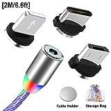 Magnetisches USB Ladekabel mit Sichtbarem Fließendem LED Mehrfarbenlicht, Micro USB Typ C Kabel...