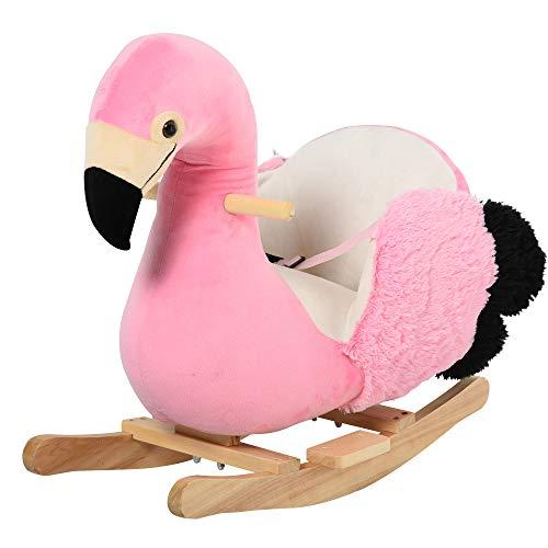 HOMCOM Schaukelpferd Schaukelspielzeug Flamingo mit Sicherheitsgurt Haltegriffe Plüsch 60 x 33 x 52 cm