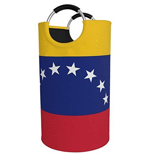 Sunmuchen Cesta de lavandería con diseño de bandera de Venezuela, impermeable, grande, organizador para ropa, juguetes, dormitorio, baño, con asas de aluminio