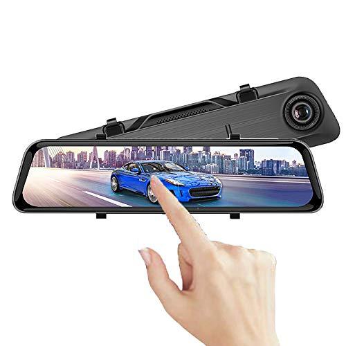"""WSJMJ DashCam Spiegel, 12\""""2K Intelligente 170 ° Weitwinkel Voll-Touchscreen-Doppelkameras für Vorder- und Rückseite, mit HD-Loop-Aufnahme, mit Notfallaufnahme, Nachtsicht, Reverse-Monitor-System"""