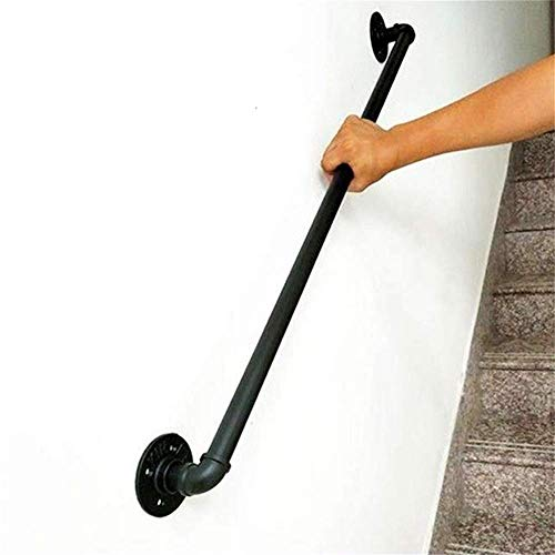 Home Wall Handrail Black Wrought Iron Pipe Stair Railing Fence Elderly Children Indoor and Outdoor Railing Non-Slip Handle, 7cm High from The Wall 13ft