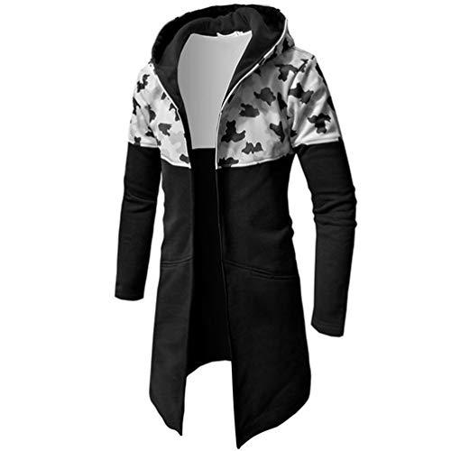 Herren Herbst Winter Mantel Mit Reißverschluss Beiläufig Warm Tarnung Lange Ärmel Oberteile Bluse Jacke Armeegrün Kapuzenpullover Hoodie