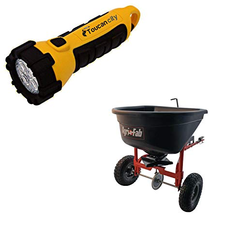Toucan City LED Flashlight and Agri-Fab 110 lb. Tow Broadcast Spreader 45-0527