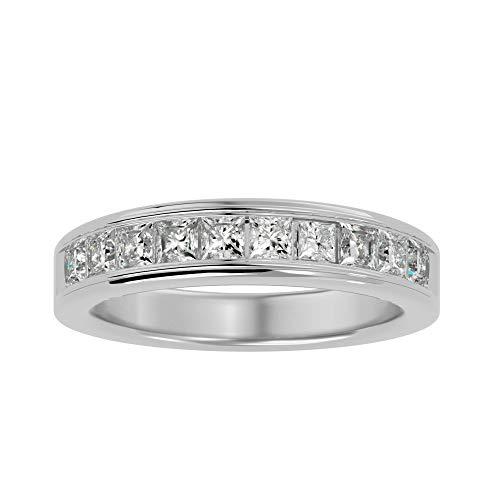 Anillo de oro de 18 quilates con diamante natural de corte princesa (1,1 ct) con anillo de boda de oro blanco/amarillo/rosa para mujer